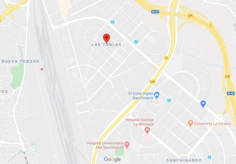 Plano de zona de las Tablas. Fuente: Google Maps